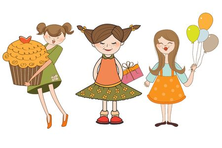 set of three young girls with gifts isolated on white background Vector