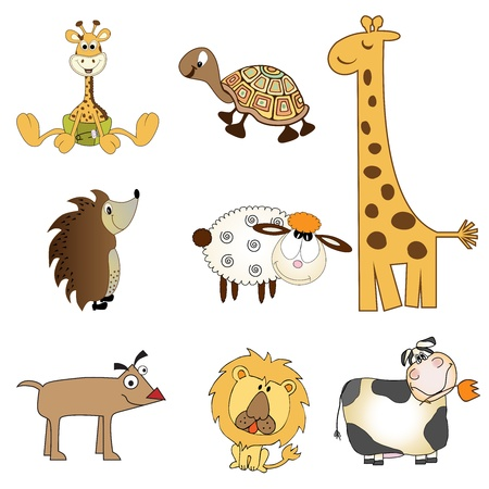 funny animals items set in format, isolated on white background Stock Vector - 17185133