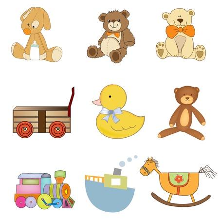 poussette: dr�les de jouets articles mis isomated sur fond de wite Illustration