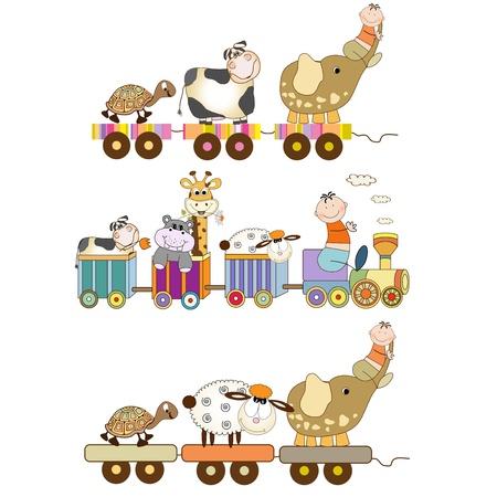 cartoon hippo: funny toys train set isolated on white background Illustration