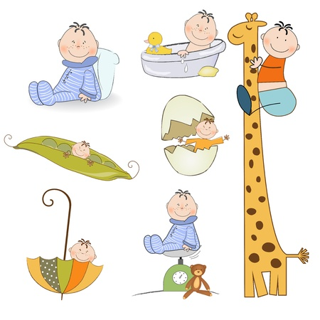 isilated: baby boy items set in vector format isolated on white background