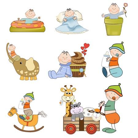 flower bath: new baby boy items set on white  background Illustration