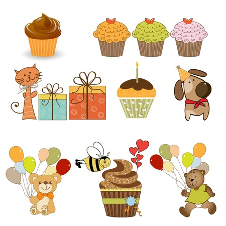 bee birthday party: birthday items set in vector format isolated on white background