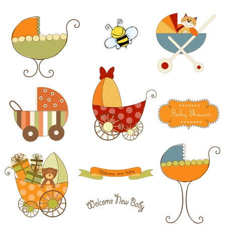 gee: baby stroller items set in vector format isolated on white background