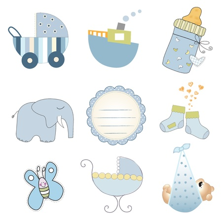 baby boy items set in vector format isolated on white background Vector