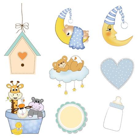 baby duck: oggetti baby boy stabiliti in formato vettoriale isolato su sfondo bianco