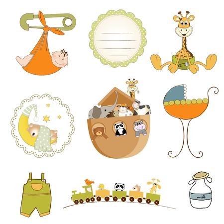 jirafa fondo blanco: artículos para bebés ducha televisión en formato vectorial aislados en fondo blanco Vectores