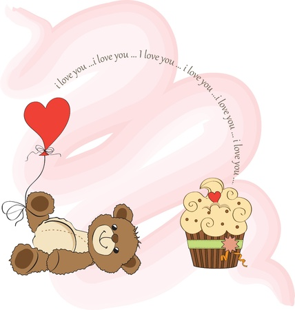 valentine s day teddy bear: Valentine s Day card with teddy bear