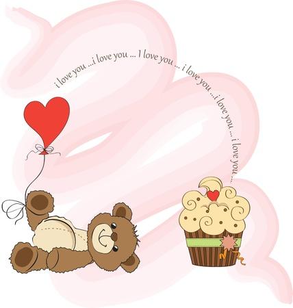 valentine s day teddy bear: Valentine s Day card with teddy bear
