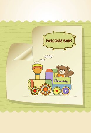 playfulness: baby shower card with teddy bear and train toy