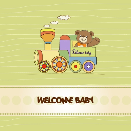 moments: baby shower card with teddy bear and train toy
