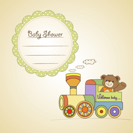 baby shower card with teddy bear and train toy Vector