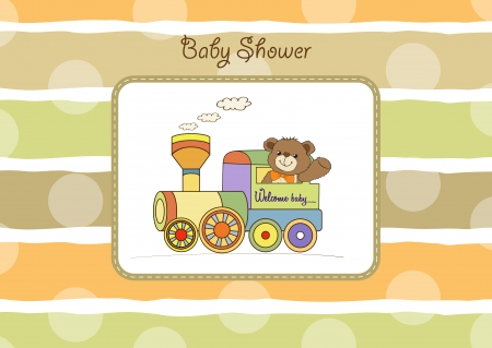baby shower card with teddy bear and train toy Stock Vector - 17671472