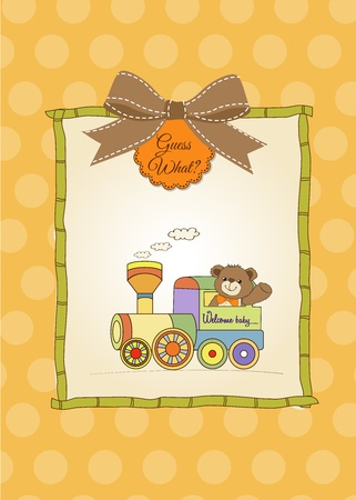 baby shower card with teddy bear and train toy Stock Vector - 17671481