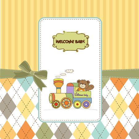 invitacion baby shower: beb� ducha tarjeta con osito de peluche y juguetes de trenes