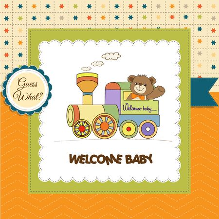 birthday train: baby shower card with teddy bear and train toy