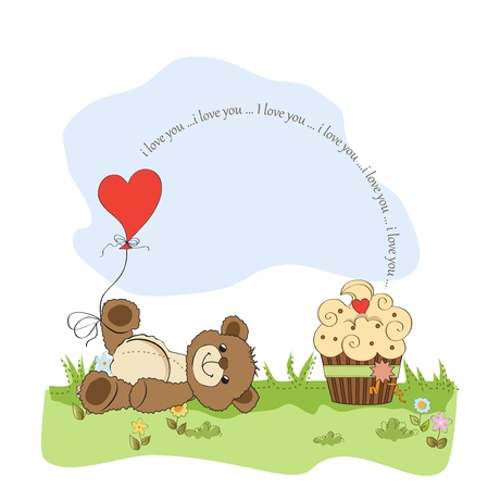 Valentine`s Day card with teddy bear
