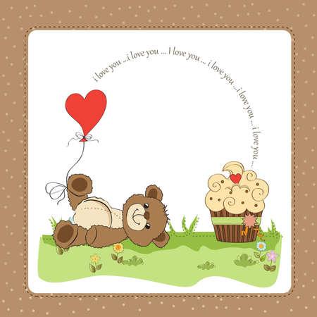 Valentine`s Day card with teddy bear Stock Vector - 17671508