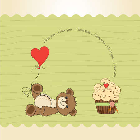 Valentine`s Day card with teddy bear Vector
