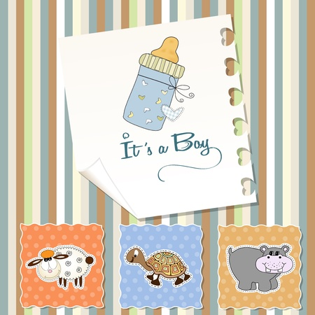 animal frame: baby boy shower invitation