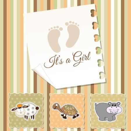 turtles love: baby girl shower invitation Illustration