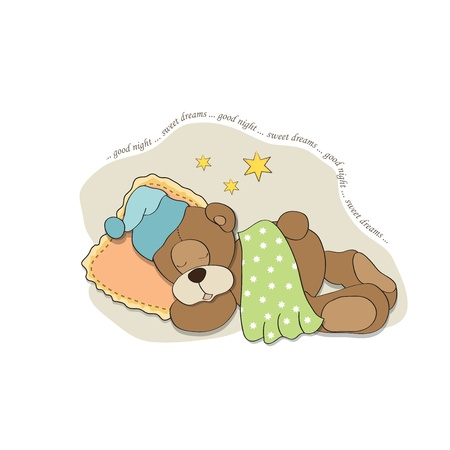 cute Teddy Bear sleeps on pillow Stock Vector - 17671267