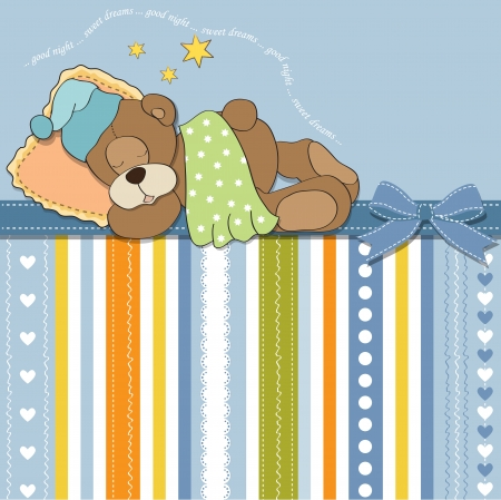 cute Teddy Bear sleeps on pillow Stock Vector - 17671480