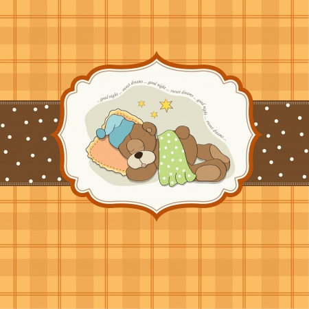 cuddle: cute Teddy Bear sleeps on pillow