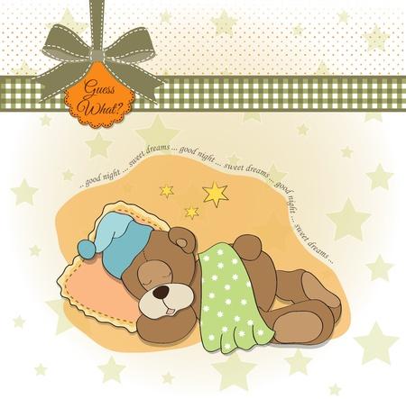 cute Teddy Bear sleeps on pillow Stock Vector - 17671532