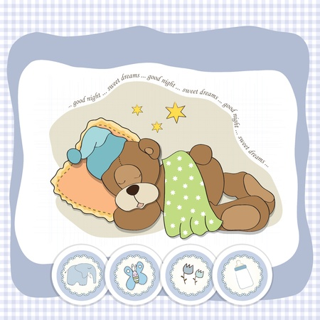 cuddly: cute Teddy Bear sleeps on pillow