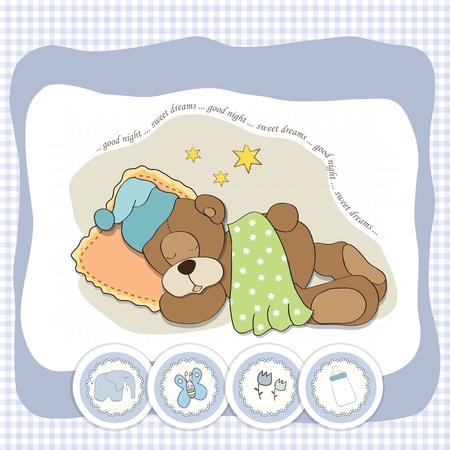 sleeps: cute Teddy Bear sleeps on pillow