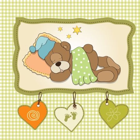 stuffed animals: cute Teddy Bear sleeps on pillow