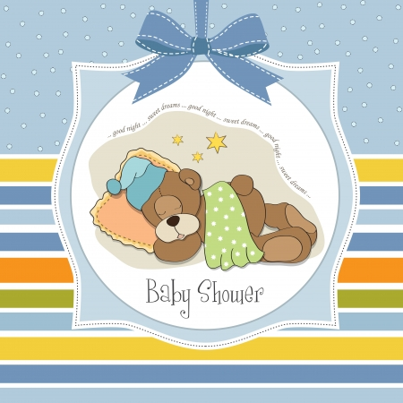 adoring: baby shower card with sleeping teddy bear Illustration