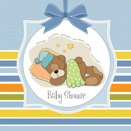 buonanotte: carta di bambino doccia con dormire orsacchiotto Vettoriali