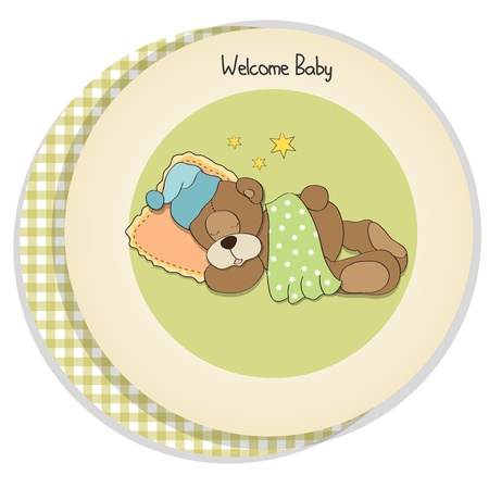 baby shower card with sleeping teddy bear Stock Vector - 17671322