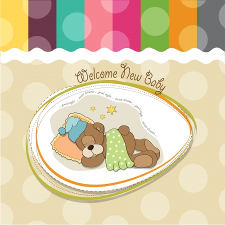 abstractly: baby shower card with sleeping teddy bear Illustration