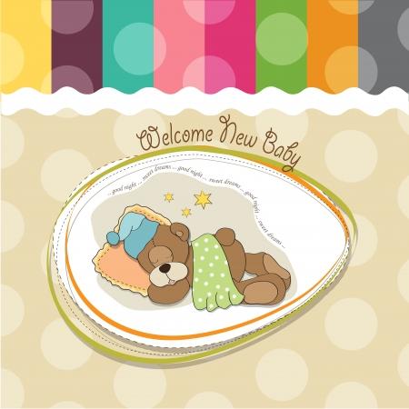 baby shower card with sleeping teddy bear Stock Vector - 17671349