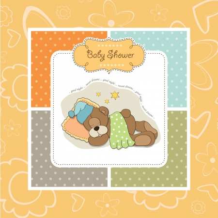 baby shower card with sleeping teddy bear Stock Vector - 17671582