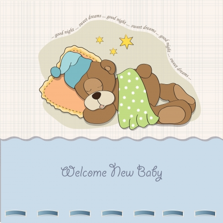 baby shower card with sleeping teddy bear Stock Vector - 17671615