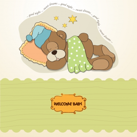 baby shower card with sleeping teddy bear Stock Vector - 17671273
