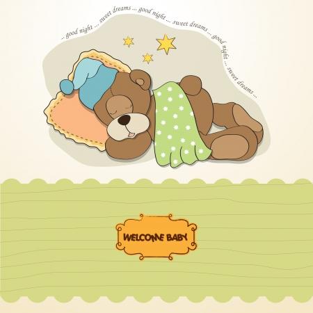 sleepy: baby shower card with sleeping teddy bear Illustration