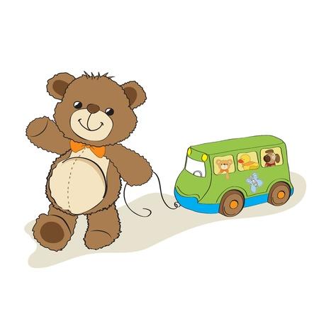 pull toy: oso de peluche de juguete que tira de un autobús, dibujos animados Vectores