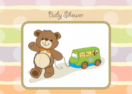 pull along: baby shower card with cute teddy bear and buss toy