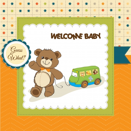 baby shower card with cute teddy bear and bus toy Vector