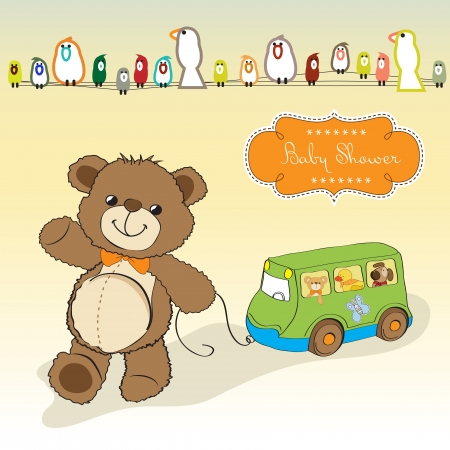 baptism background: baby shower card with cute teddy bear and bus toy Illustration