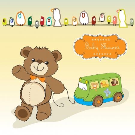 pull toy: beb� ducha tarjeta con osito de peluche y juguetes de autob�s