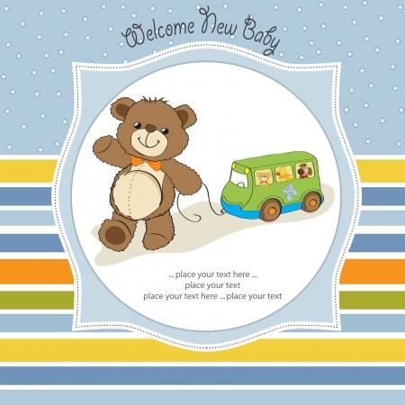 joyfulness: baby shower card with cute teddy bear and bus toy Illustration