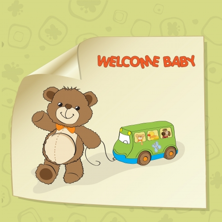 cheerfulness: baby shower card with cute teddy bear and bus toy Illustration