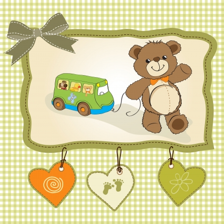 newborn baby boy: baby shower card with cute teddy bear and bus toy Illustration