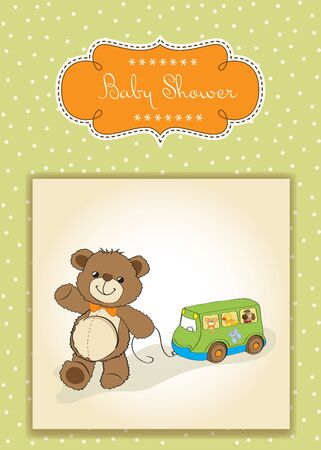 baby shower card with cute teddy bear and bus toy Stock Vector - 17671655